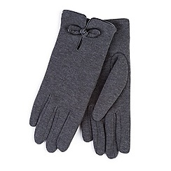 Totes - Grey smart-touch bow detail gloves