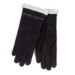 Totes - Black suede gloves with sherpa cuff