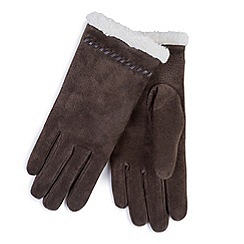 Totes - Suede gloves with sherpa cuff