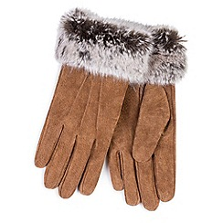 Totes - Tan suede gloves with faux fur cuff