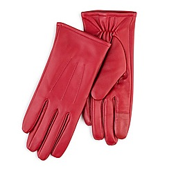 Totes - Red leather gloves with smart-touch