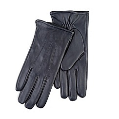 Totes - Navy leather gloves with smart-touch