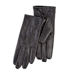 Totes - Black leather gloves with smart-touch
