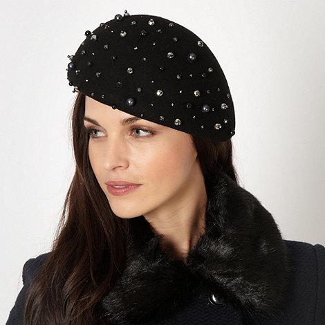 J by Jasper Conran - Designer black embellished felt beret