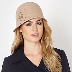 J by Jasper Conran - Designer beige jewelled wool cloche hat