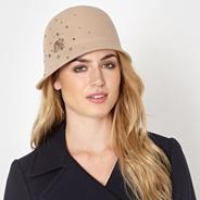 Designer beige jewelled wool cloche hat