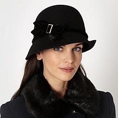J by Jasper Conran - Designer black velvet bow cloche hat