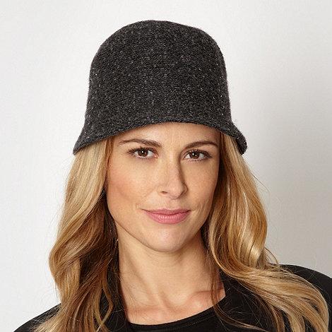 J by Jasper Conran - Designer dark grey sequin knit cloche hat