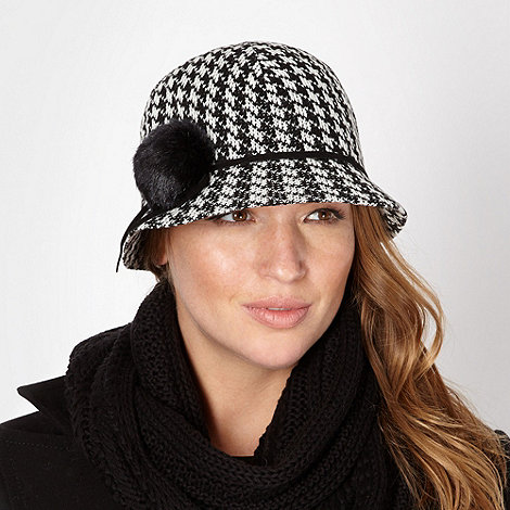 J by Jasper Conran - Designer black checked cloche hat
