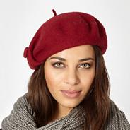 Designer dark red button detail wool beret