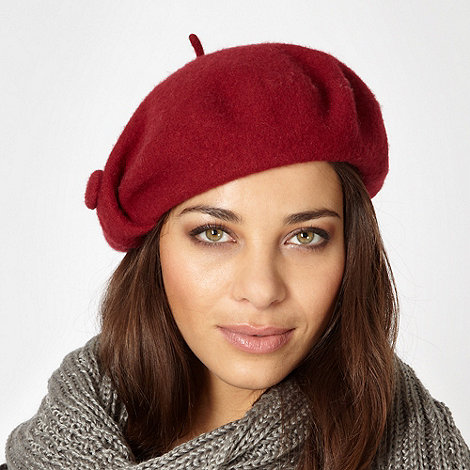J by Jasper Conran - Designer dark red button detail wool beret