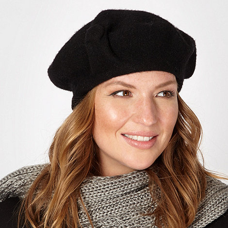 J by Jasper Conran - Designer black button detail wool beret