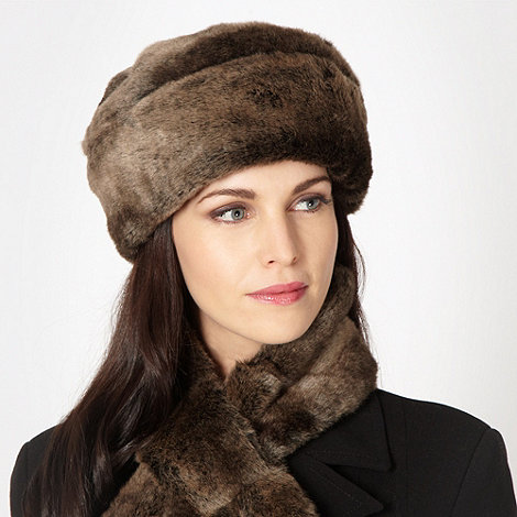 J by Jasper Conran - Designer chocolate faux fur hat
