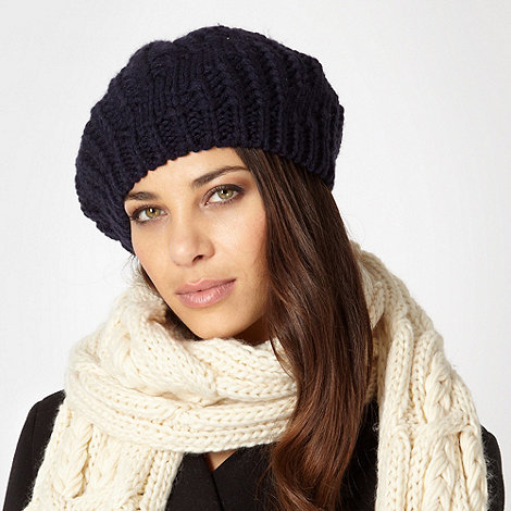 J by Jasper Conran - Designer navy diagonal knit beret