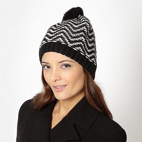 J by Jasper Conran - Designer black zig zag knit beanie hat