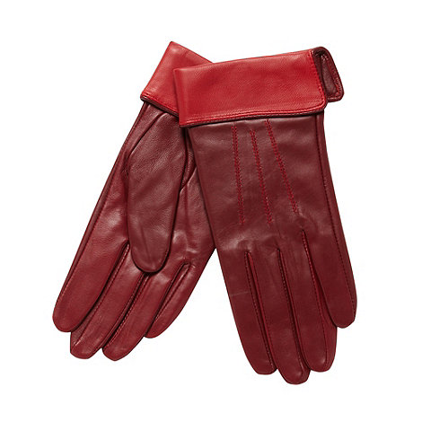 J by Jasper Conran - Designer wine contrast cuff leather gloves