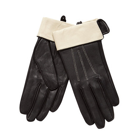 J by Jasper Conran - Designer black contrast cuff leather gloves