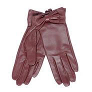 Designer wine bow leather gloves