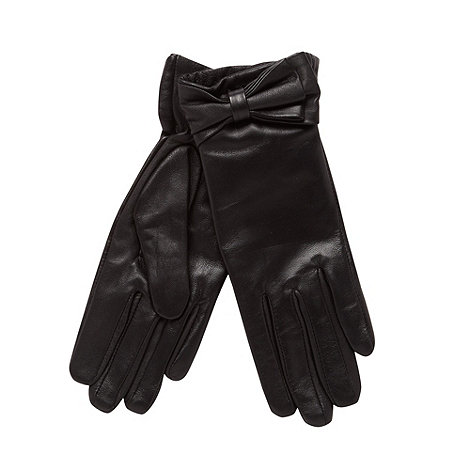 J by Jasper Conran - Designer black bow leather gloves