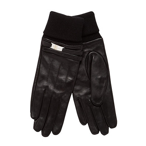 J by Jasper Conran - Designer black leather cuff gloves