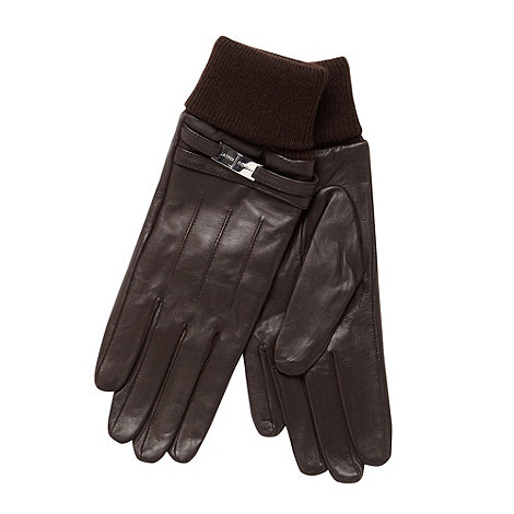J by Jasper Conran - Designer chocolate leather gloves