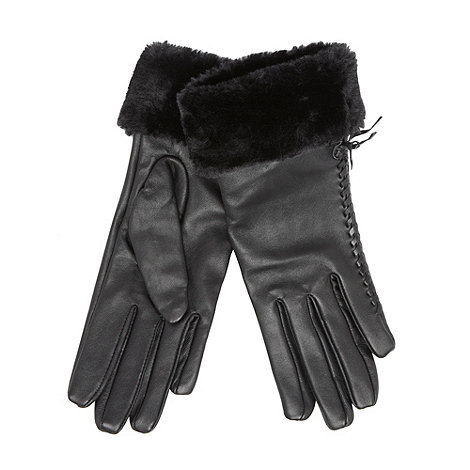 J by Jasper Conran - Designer black leather faux fur gloves