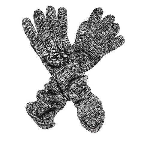 J by Jasper Conran - Designer black ruched pom pom gloves