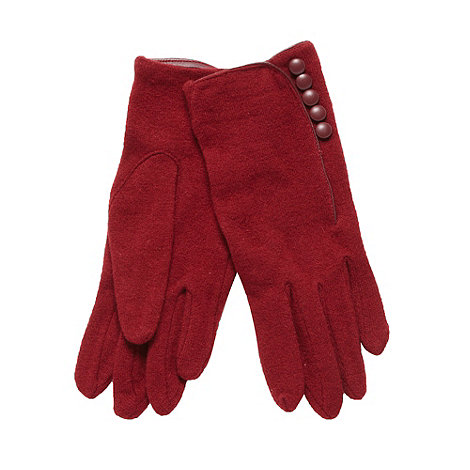 J by Jasper Conran - Designer red button detail knitted gloves