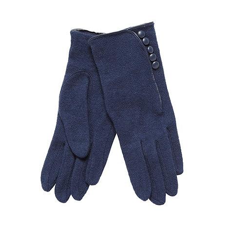 J by Jasper Conran - Designer navy button detail knitted gloves