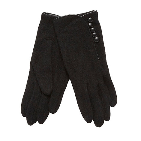J by Jasper Conran - Designer black button detail knitted gloves