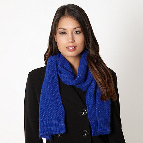 J by Jasper Conran - Designer bright blue basket weave knit scarf