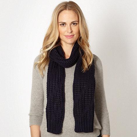 J by Jasper Conran - Designer navy diagonal knit scarf