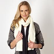 Designer cream diagonal knit scarf