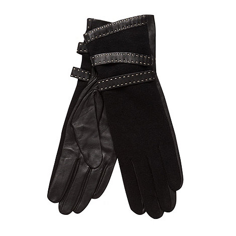 J by Jasper Conran - Designer black stitch leather gloves