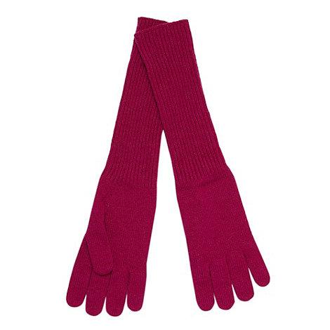 Johnstons - Dark pink ribbed cashmere gloves