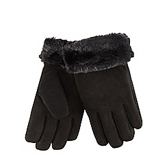 RJR.John Rocha - Black suede faux fur trim gloves
