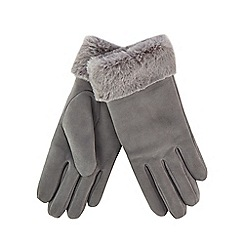RJR.John Rocha - Grey suede faux fur trim gloves