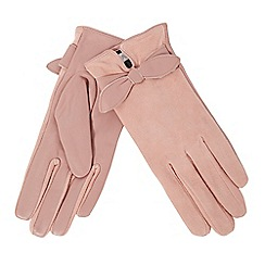 RJR.John Rocha - Light pink leather bow gloves