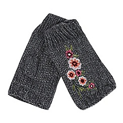 RJR.John Rocha - Grey floral embroidered hand warmers