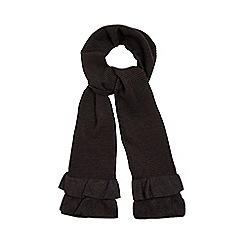 RJR.John Rocha - Dark grey ribbed frilled hem scarf