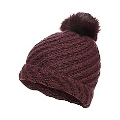 RJR.John Rocha - Dark pink knitted faux fur pom pom beanie hat