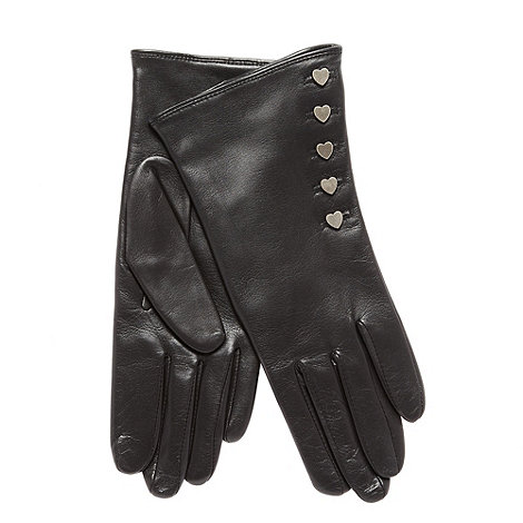 Dents - Black leather heart button gloves