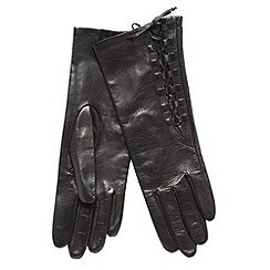 Dents - Black leather side lace gloves