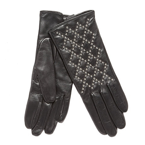 Dents - Black leather stud detail gloves