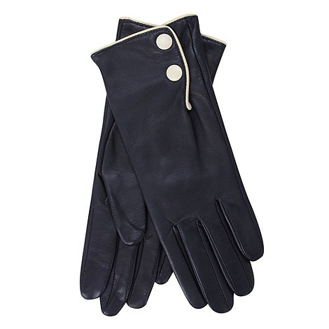 Dents - Navy leather contrast trim gloves