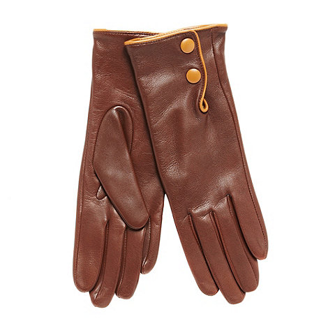 Dents - Brown leather contrast trim gloves