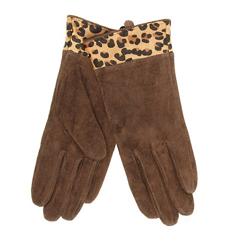 Dents - Chocolate suede leopard cuff gloves