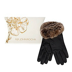 RJR.John Rocha - Black leather faux fur gloves
