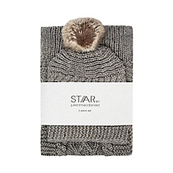 Star by Julien Macdonald - Grey cable knit diamante beanie and scarf set
