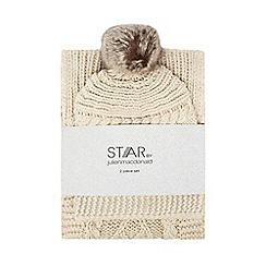 Star by Julien Macdonald - Ivory cable knit diamante beanie and scarf set